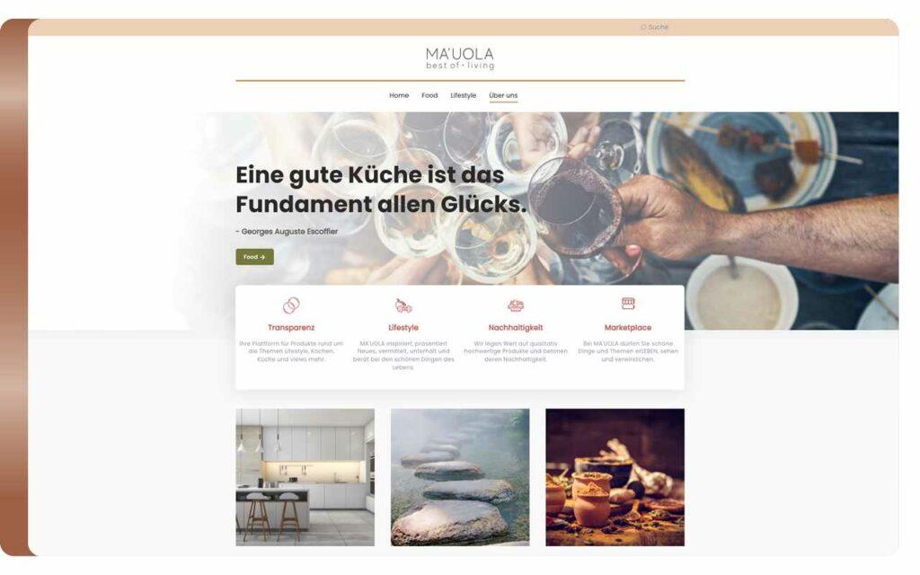 Screenshot der Mauola Webseite